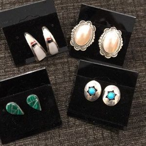 Four pair of Native American earrings. Some .925.